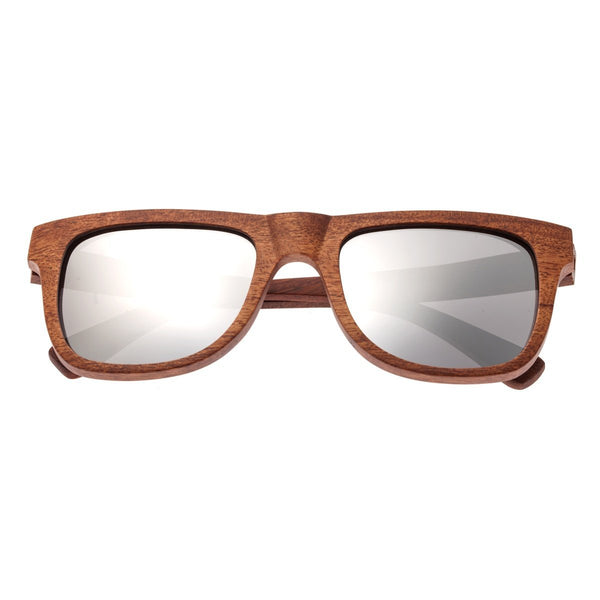 Earth Wood Hampton Sunglasses w/ Polarized Lenses - Red Rosewood/Silver