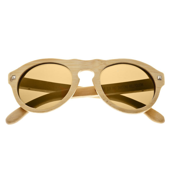 Earth Wood Sunset Sunglasses w/ Polarized Lenses - Khaki/Gold