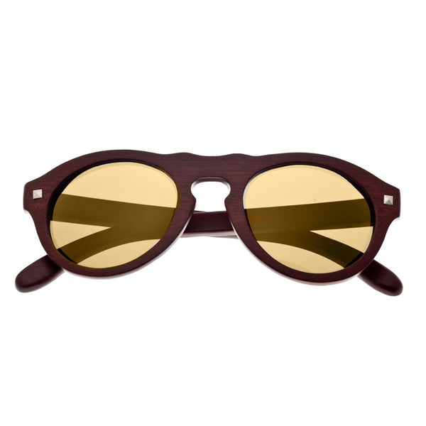 Earth Wood Sunset Sunglasses w/ Polarized Lenses - Red Rosewood/Gold