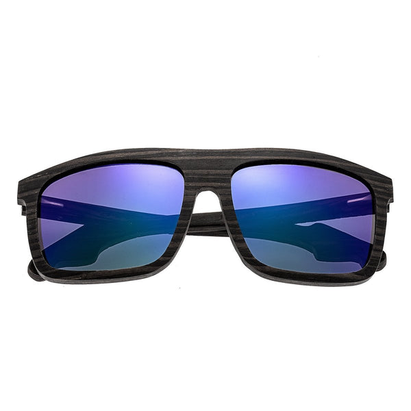 Earth Wood Aroa Sunglasses w/Polarized Lenses  - Ebony/Purple-Green