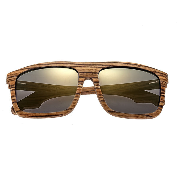 Earth Wood Aroa Sunglasses w/Polarized Lenses - Zebrawood/Gold-Black