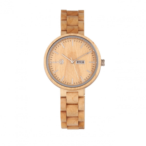 Earth Wood Mimosa Bracelet Watch w/Day/Date - Khaki-Tan