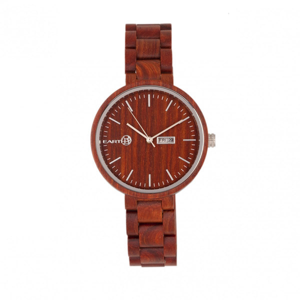 Earth Wood Mimosa Bracelet Watch w/Day/Date - Red