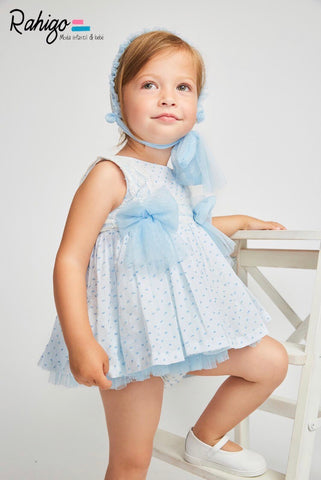 Rahigo White/Blue Tulle Bow Dress, Pants & Bonnet Set
