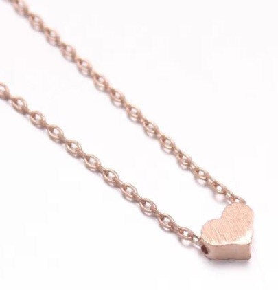 "Tiny Rose Gold ""Heart Me"" Necklace - Dainty, Simple, Birthday Gift, Wedding Bridesmaid Gift"