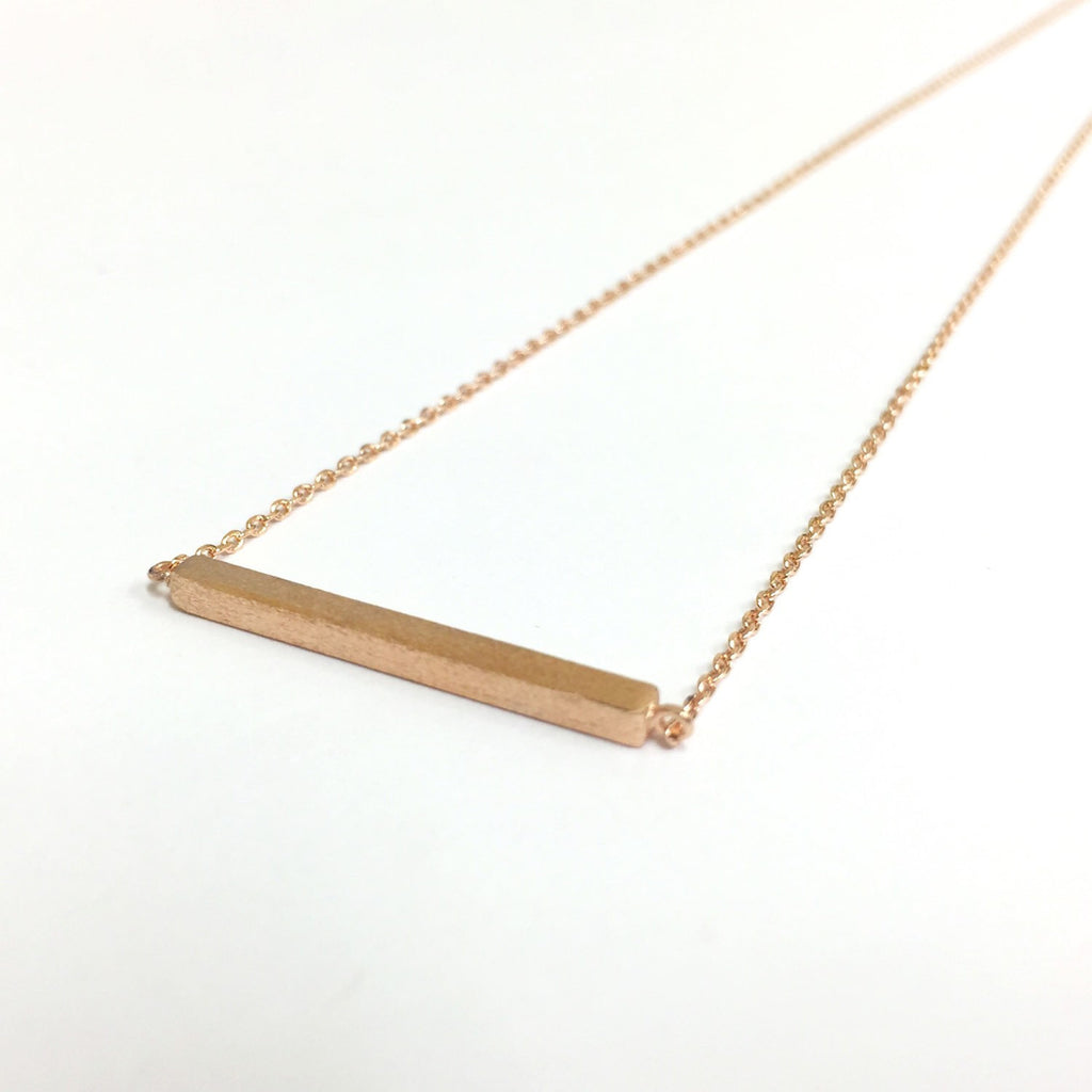 Tiny Rose Gold Slim Long Bar Necklace  - Dainty, Simple, Birthday Gift, Wedding Bridesmaid Gift