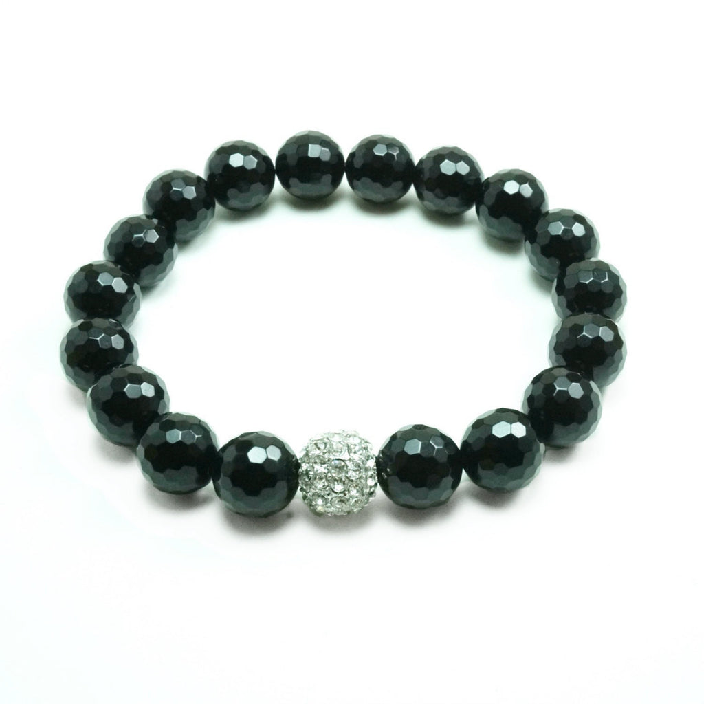 Unisex Bling Onyx Stretch Beaded Bracelet