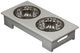 Rectangular shaped pet bowl stand and stainless steel bowls