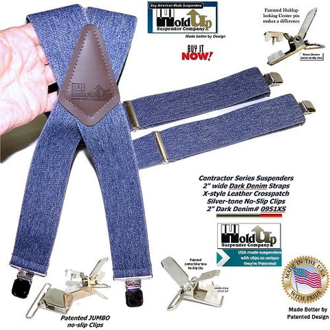 Hold-Ups Heavy Duty Dark Denim Work Suspenders with Patented jumbo no-slip center pin suspender clips