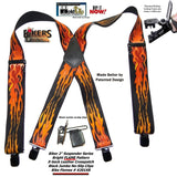 "Hold-Ups Flame Pattern 2"" wide Biker Suspenders with Patented Jumbo no-slip Clips"