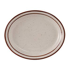 "Bahamas Platter Oval Eggshell with Brown Speckle 13 1/4"" x 10 1/2"" - Home Of Coffee"