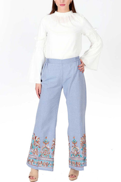 Denim embroidered trouser