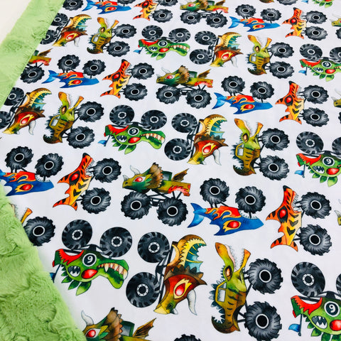 Monster Trucks Designer Luxe Minky Blanket