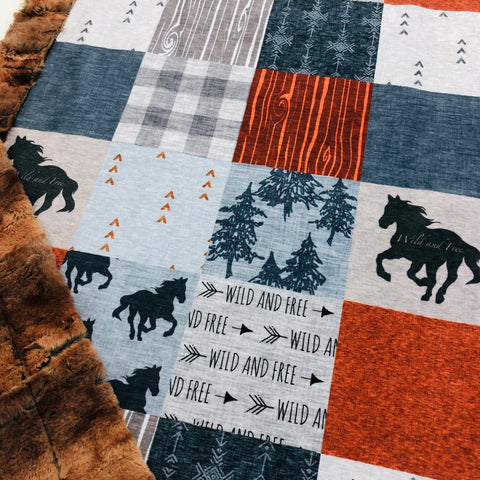 Wild and Free Horse Designer Luxe Minky Blanket