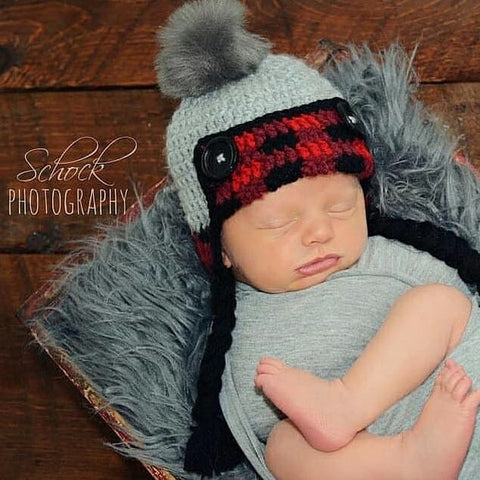 Crochet Lumberjack Plaid Beanie Hat Newborn Infant Baby Toddler Child Adult Handmade Baby Shower Gift