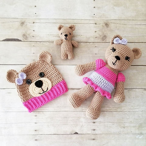 Crochet Teddy Bear Gift Set Stuffed Animal Doll Toy Hat Beanie Infant Newborn Baby Toddler Handmade Photography Photo Prop Baby Shower Gift Present