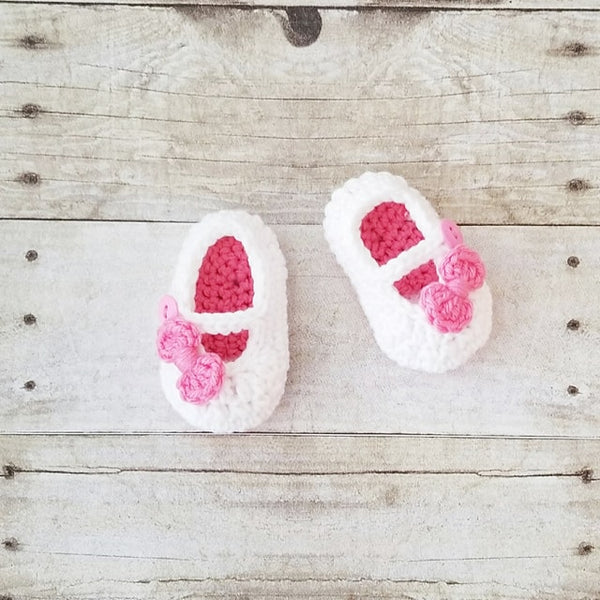 Crochet Baby Bow Shoes Booties Mary Jane's Newborn Infant Accessories Footwear Handmade Baby Shower Gift - Red Lollipop Boutique