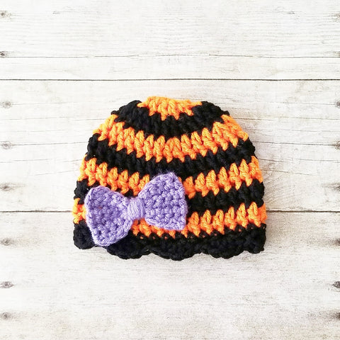 Crochet Baby Halloween Striped Bow Beanie Hat Costume Infant Newborn Baby Toddler Child Adult Handmade Photography Photo Prop Baby Shower Gift - Red Lollipop Boutique