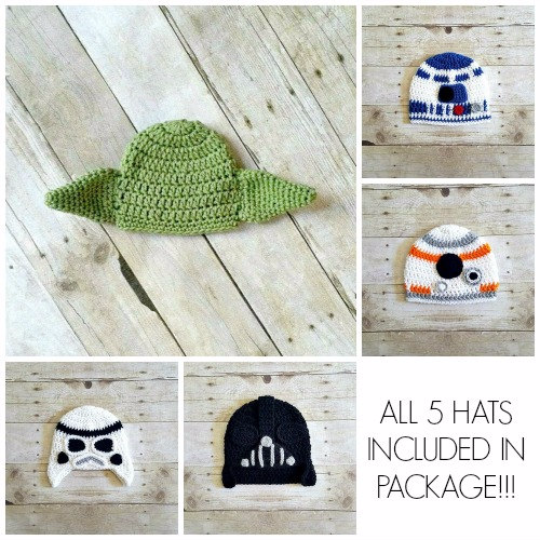 Crochet Star Wars Hat Beanie Bundle Package Yoda R2D2 Stormtrooper BB8 Darth Vader Set Newborn Infant Toddler Child Adult Photography Prop - Red Lollipop Boutique