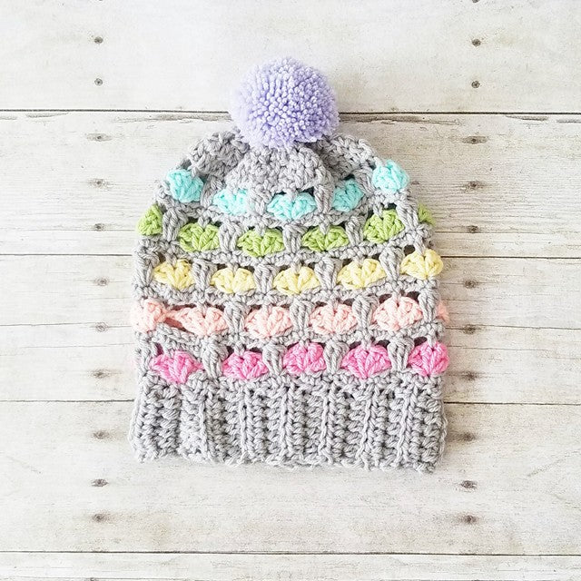 Crochet Peek-A-Boo Beanie Hat Pompom Handmade Accessory Infant Newborn Baby Toddler Child Adult