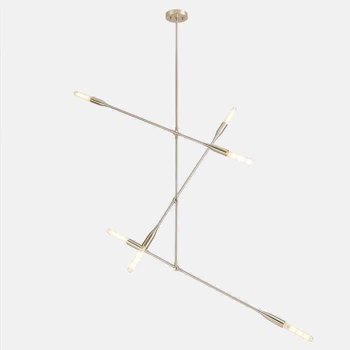 Sorenthia 3-Arm linear pendant light in Brushed Nickel by Studio DUNN on grey background