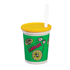 Plastic lemonade cup 32 ounce with lid and straw souvenir cup