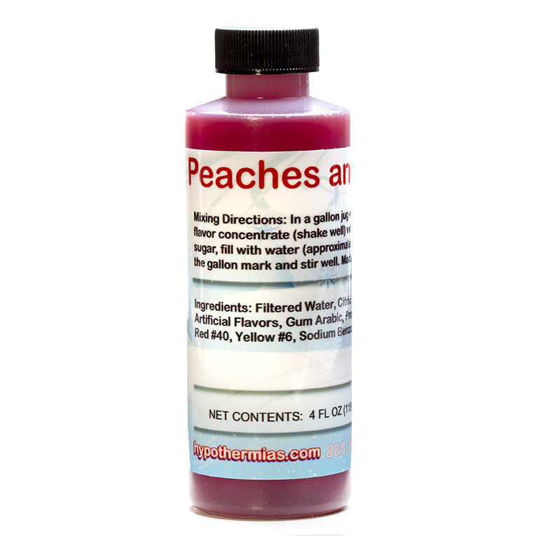 Peach and cream flavored syrup concentrate for shaved ice 4 ounce