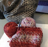 progress of a knitted hat
