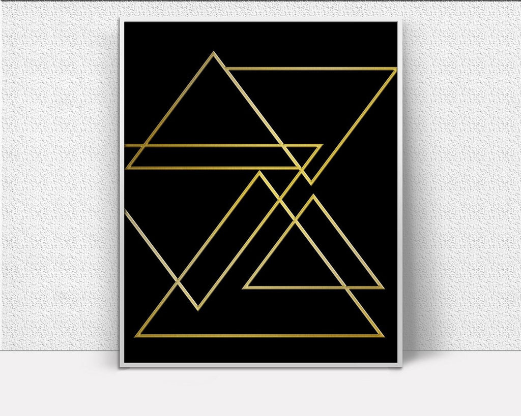 Wall Decor Triangles Printable Gold Prints Triangles Sign Gold Modern Art Gold Modern Print Triangles Printable Art Triangles Modern Retro - Digital Download
