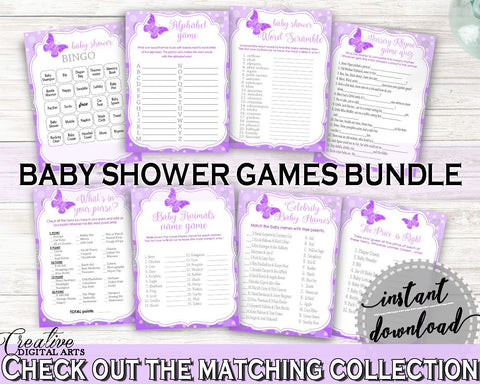 Games Baby Shower Games Butterfly Baby Shower Games Baby Shower Butterfly Games Purple Pink party theme, customizable files, prints 7AANK - Digital Product