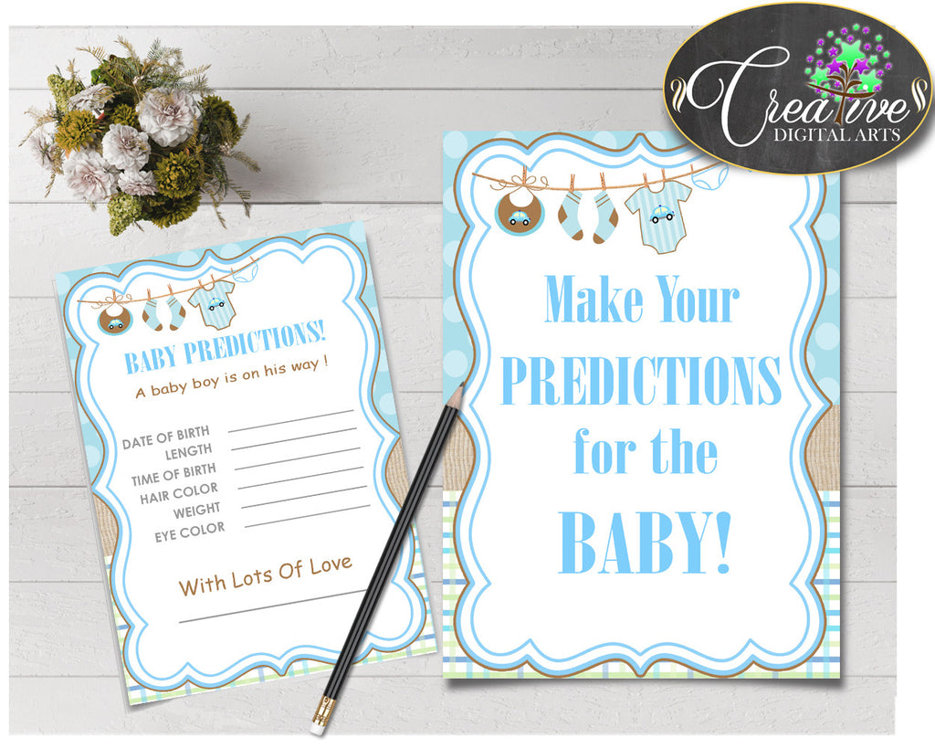 PREDICTIONS FOR BABY sign and cards activity printable for baby shower with blue clotheline and blue color theme, instant download - bc001