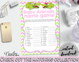 NAME THE BABY ANIMALS baby shower game with green alligator and pink color theme, instant download - ap001