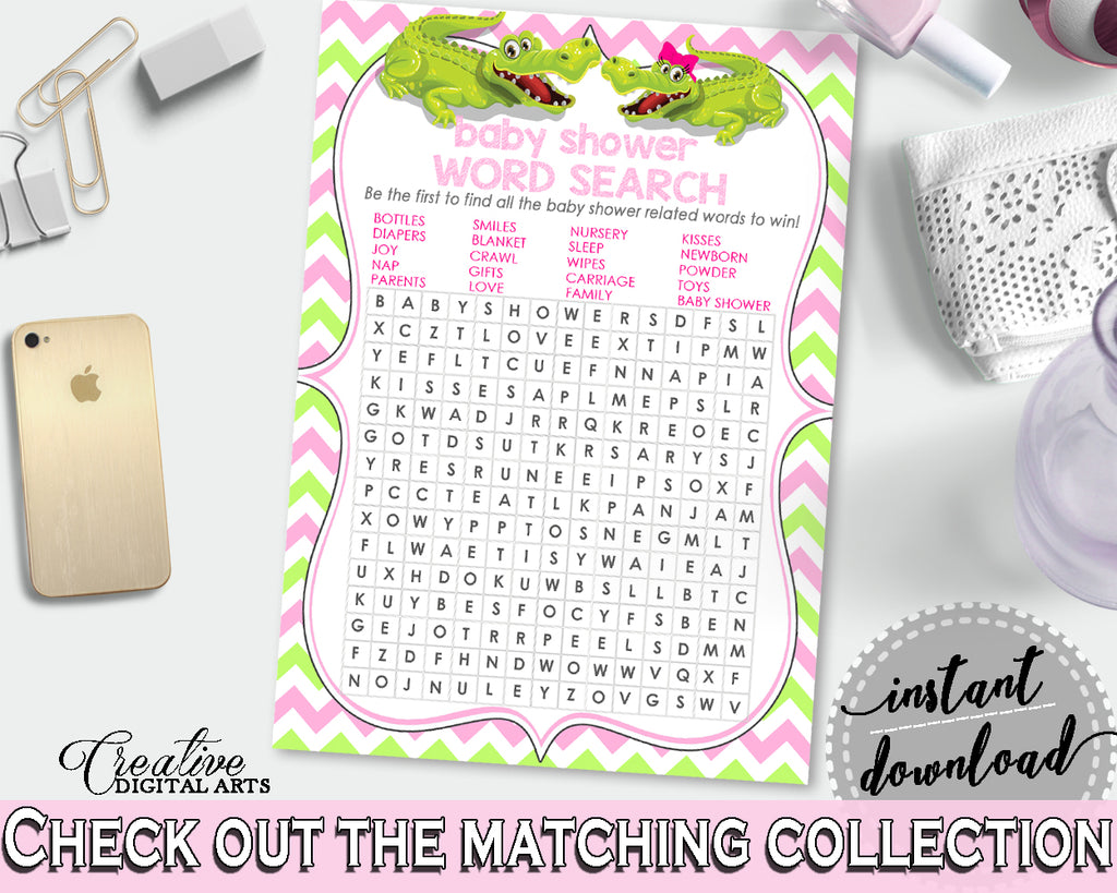 Baby Shower WORD SEARCH game with green alligator and pink color theme, instant download - ap001