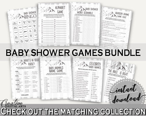 Games Baby Shower Games Adventure Mountain Baby Shower Games Gray White Baby Shower Adventure Mountain Games party ideas, prints - S67CJ - Digital Product