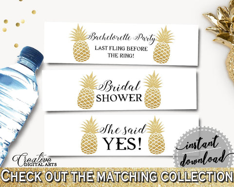 Bottle Labels Bridal Shower Bottle Labels Pineapple Bridal Shower Bottle Labels Bridal Shower Pineapple Bottle Labels Gold White 86GZU - Digital Product