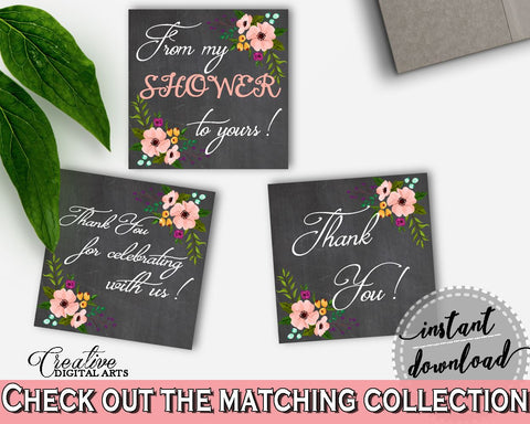 Black And Pink Chalkboard Flowers Bridal Shower Theme: Thank You Tags Square - thanks labels, chalk shower, party decorations - RBZRX - Digital Product