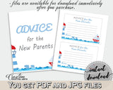 Advice Cards Baby Shower Advice Cards Nautical Baby Shower Advice Cards Baby Shower Nautical Advice Cards Blue Red party décor DHTQT - Digital Product