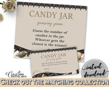 Candy Guessing Game in Seashells And Pearls Bridal Shower Brown And Beige Theme, guessing games, bridal shower pearls, printables - 65924 - Digital Product
