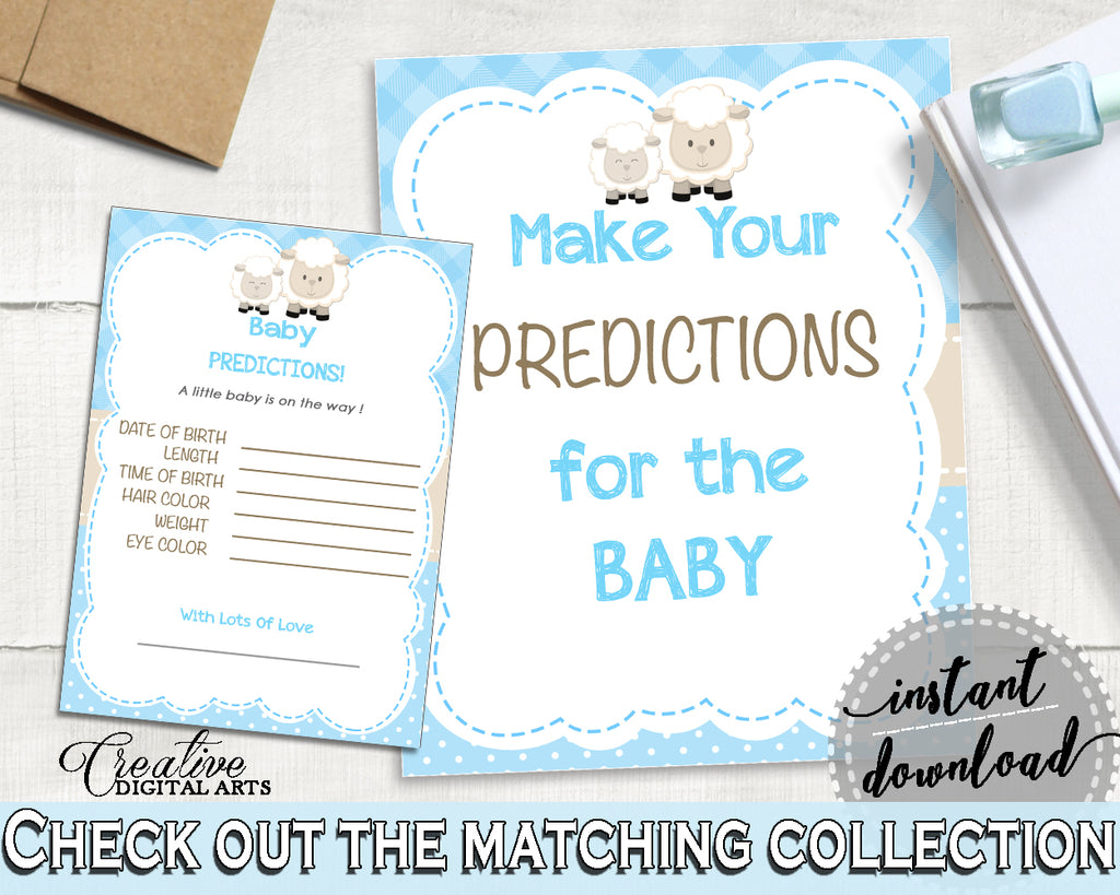 Little lamb PREDICTIONS FOR BABY blue baby boy shower sign and cards activity printable sheep theme, digital files, instant download - fa001
