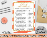 CELEBRITY BABY NAMES baby shower game with glitter gold and orange stripes theme, digital files, Jpg Pdf, instant download - bs003