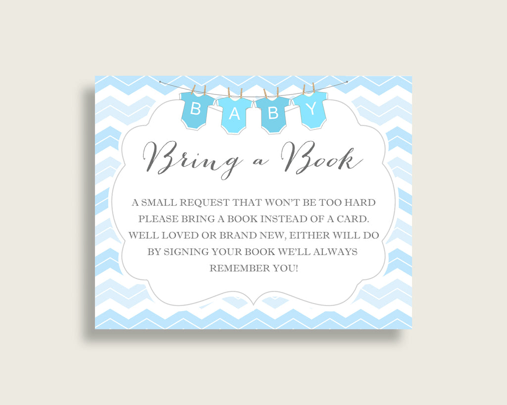 Chevron Baby Shower Bring A Book Insert Printable, Boy Blue White Book Request, Chevron Books For Baby, Book Instead Of Card, Popular cbl01