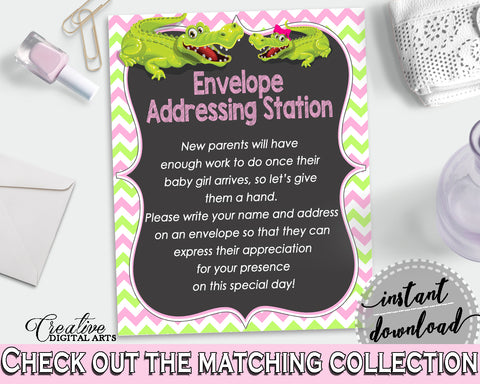 ADDRESS STATION baby shower sign with green alligator and pink color theme, instant download - ap001