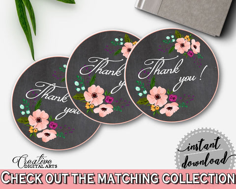 Chalkboard Flowers Bridal Shower Thank You Tag in Black And Pink, round favour labels, panel shower, customizable files, party theme - RBZRX - Digital Product