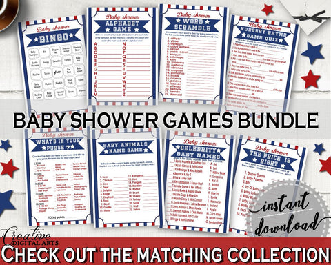 Games Baby Shower Games Baseball Baby Shower Games Baby Shower Baseball Games Blue Red prints, pdf jpg, digital print, party décor YKN4H - Digital Product