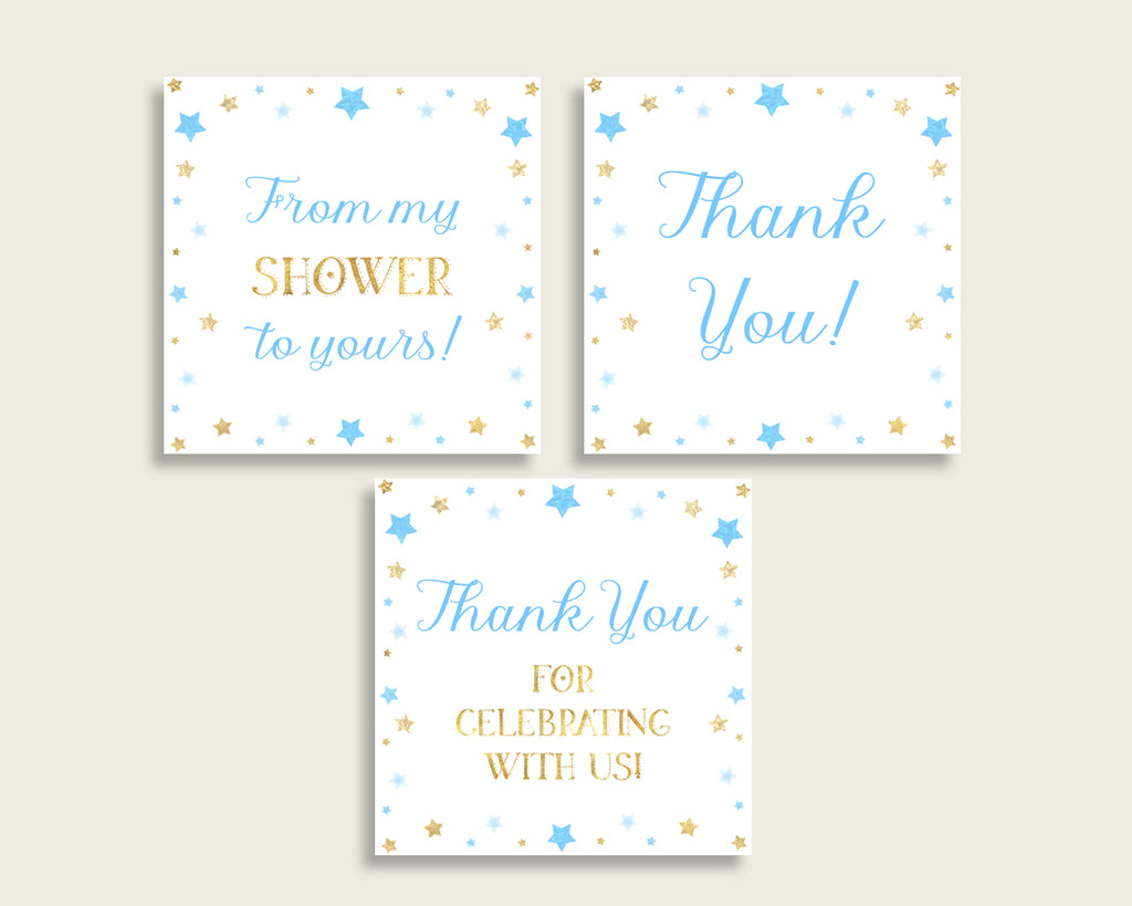 Stars Baby Shower Square Thank You Tags 2 inch Printable, Blue Gold Boy Shower Gift Tags, Hang Tags Labels, Instant Download, Stickers bsr01