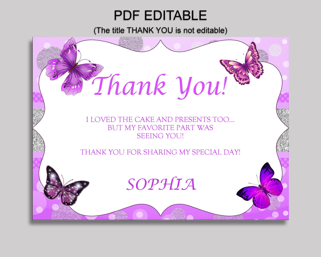 Birthday Butterfly Thank You Butterfly Self Editable Purple White Thank You Notes Butterfly Party Thank You Girl OHI62