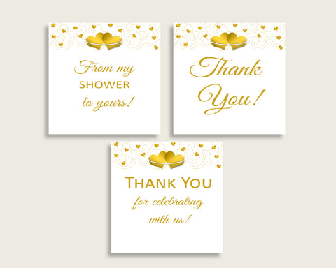 Favor Tags Bridal Shower Favor Tags Gold Hearts Bridal Shower Favor Tags Bridal Shower Gold Hearts Favor Tags White Gold printables 6GQOT