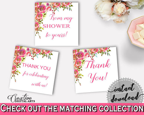 Favor Tags Bridal Shower Favor Tags Spring Flowers Bridal Shower Favor Tags Bridal Shower Spring Flowers Favor Tags Pink Green party UY5IG - Digital Product