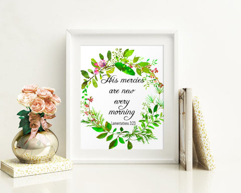 Wall Art His Mercies Are New Every Morning Digital Print His Mercies Are New Every Morning Poster Art His Mercies Are New Every Morning Wall - Digital Download