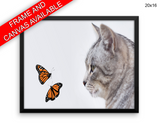 Kitten Butterflies Print, Beautiful Wall Art with Frame and Canvas options available Living Room